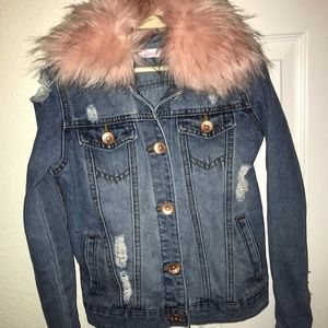 Other - Girl's Size 7 Destroyed Jean Jacket With Pink Fur